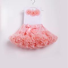 billige Tøjsæt til piger-Børn / Baby Pige Aktiv / Basale Skole / Strand Blomstret Sløjfer / Flettet Uden ærmer Normal Bomuld / Nylon Tøjsæt Lyserød