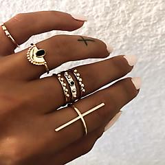 billige Motering-Dame Retro Knokering Ring Set Multi-fingerring - Harpiks Kors Vintage, Punk, Bohem 9 Gull / Sølv Til Gave Daglig Gate / 6pcs