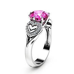 billige Motering-Dame Rosa Kubisk Zirkonium Solitaire Ring - Platin Belagt, Fuskediamant Hjerte Unikt design, Romantikk, Mote 6 / 7 / 8 / 9 / 10 Sølv Til Gave Stevnemøte