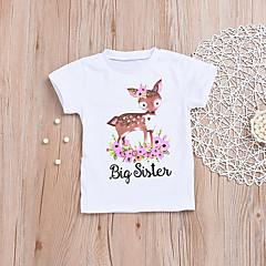 baratos Roupas de Meninas-Bébé Para Meninas Estampado Manga Curta Camiseta