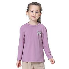 billige Pigetoppe-Børn Pige Basale Daglig Ensfarvet Sløjfer Langærmet Normal Polyester / Spandex T-shirt Grå 140