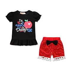 billige Sett med babyklær-Baby Pige Aktiv / Basale Daglig / Sport Trykt mønster Pailletter / Trykt mønster Kortærmet Normal Bomuld / Spandex Tøjsæt Sort 100