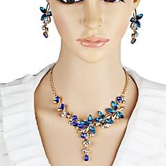 baratos Conjuntos de Bijuteria-Mulheres Amethyst Sintético Clássico Conjunto de jóias - Flor Estiloso, Clássico Incluir Brincos Compridos Colar Y Branco / Vermelho / Azul Para Noivado Cerimônia