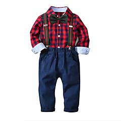 billige Tøjsæt til drenge-Børn Drenge Basale Houndstooth mønster Langærmet Bomuld Tøjsæt Rød 100