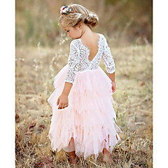cheap Girls' Dresses-Kids Girls' Basic Daily Solid Colored Lace / Layered Long Sleeve Cotton / Polyester Dress Red
