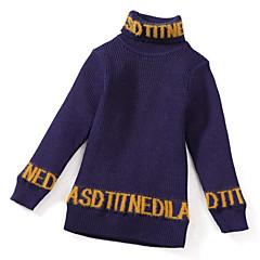 billige Sweaters og cardigans til piger-Børn Pige Aktiv Daglig Ensfarvet / Geometrisk Trykt mønster Langærmet Normal Polyester Trøje og cardigan Rød