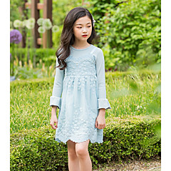 cheap Girls' Dresses-Kids Girls' Basic Daily Solid Colored Long Sleeve Cotton / Polyester Dress Pink