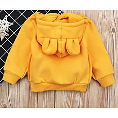 billige Hættetrøjer og sweatshirts til piger-Børn Pige Aktiv Ensfarvet Langærmet Bomuld Hættetrøje og sweatshirt Sort 100