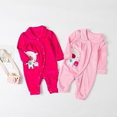 billige Babytøj-Baby Pige Aktiv / Basale Daglig Sort & Rød Patchwork Strikket / Patchwork Langærmet Bomuld / Lammeuld En del Lyserød 60