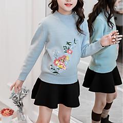 billige Sweaters og cardigans til piger-Børn Pige Basale Daglig / Sport Trykt mønster Langærmet Normal Bomuld / Rayon Trøje og cardigan Blå 140