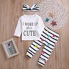 billige Sett med babyklær-Baby Pige Stribet / Blomstret Langærmet Tøjsæt