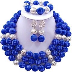 baratos Conjuntos de Bijuteria-Mulheres Camadas Conjunto de jóias - Fashion Incluir Strands Necklace Azul Escuro / Vermelho / Rosa Para Casamento