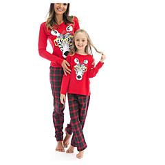 billige Sett med familieklær-Mamma og meg Geometrisk Langermet Tøysett
