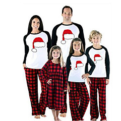 billige Sett med familieklær-Familie Look Grunnleggende Jul / Daglig Dyr Langermet Polyester Tøysett Rød Jenter 110