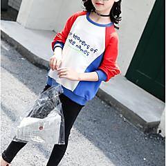 billige Hættetrøjer og sweatshirts til piger-Børn Pige Basale Daglig / Sport Patchwork Langærmet Normal Bomuld / Rayon Hættetrøje og sweatshirt Hvid