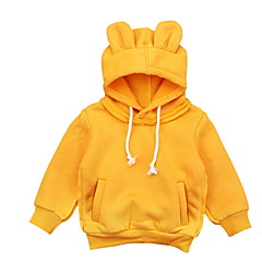 billige Hættetrøjer og sweatshirts til piger-Børn Pige Ensfarvet Langærmet Hættetrøje og sweatshirt