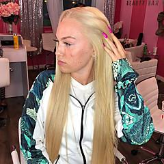 billiga Peruker och hårförlängning-Syntetiska snörning framifrån Rak Middle Part Syntetiskt hår 22-26 tum Värmetåligt / Dam / Mittbena Blond Peruk Dam Lång Spetsfront Blond