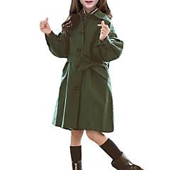 billige Jakker og frakker til piger-Børn Pige Ensfarvet Langærmet Trenchcoat