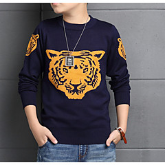 billige Sweaters og cardigans til drenge-Børn Drenge Basale Daglig Ensfarvet Langærmet Normal Bomuld / Polyester Trøje og cardigan Navyblå 150
