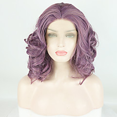 cheap Wigs & Hair Pieces-Synthetic Lace Front Wig Women's Body Wave / Deep Curly Purple Free Part 180% Density Synthetic Hair 14 inch Fashionable Design / Soft / Adjustable Purple Wig Short Lace Front Purple / Heat Resistant