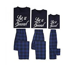 billige Sett med familieklær-Familie Look Grunnleggende Jul / Daglig Bokstaver Langermet Normal Polyester T-skjorte Blå