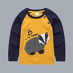 billige Overdele til drenge-Børn / Baby Drenge Aktiv / Basale Daglig / I-byen-tøj Trykt mønster Broderi Langærmet Normal Bomuld T-shirt Gul