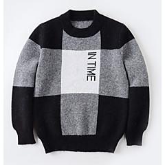 billige Sweaters og cardigans til drenge-Børn Drenge Aktiv Daglig Geometrisk / Farveblok Trykt mønster Langærmet Normal Polyester Trøje og cardigan Sort 140