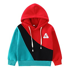 billige Hættetrøjer og sweatshirts til drenge-Børn Drenge Basale Farveblok Langærmet Bomuld Hættetrøje og sweatshirt Rød