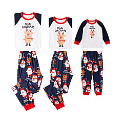 billige Sett med familieklær-3 deler Familie Look Grunnleggende Jul / Daglig Bokstaver Langermet Normal Polyester Tøysett Hvit