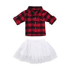 billige Tøjsæt til piger-Baby Pige Basale Jul / Daglig Sort & Rød Geometrisk Net Kortærmet Normal Normal Bomuld / Akryl Tøjsæt Rød