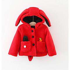 billige Overtøj til babyer-Baby Pige Basale Daglig Ensfarvet Langærmet Normal Bomuld / Polyester Jakke og frakke Rød 100