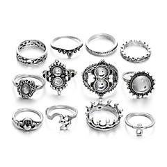 billige Motering-Dame Vintage Stil Ring Set - Krone Romantikk Sølv Til Bar Festival / 12pcs