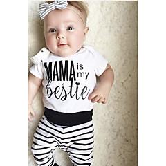 billige Tøjsæt til drenge-Baby Drenge Basale Daglig Stribet Trykt mønster Kortærmet Normal Normal Bomuld / Akryl Tøjsæt Hvid