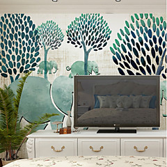 cheap -Wallpaper / Mural Canvas Wall Covering - Adhesive required Botanical / Pattern / 3D