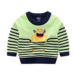 billige Hættetrøjer og sweatshirts til babyer-Baby Pige Basale Trykt mønster Langærmet Normal Polyester Hættetrøje og sweatshirt Blå