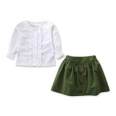 billige Tøjsæt til piger-Børn / Baby Pige Aktiv / Basale Daglig / Ferie Ensfarvet Drapering Langærmet Normal Bomuld / Spandex Tøjsæt Hvid 100