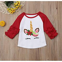billige Babyoverdele-Baby Pige Gade Trykt mønster / Farveblok Langærmet Polyester T-shirt Rød