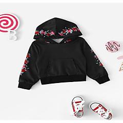 billige Hættetrøjer og sweatshirts til babyer-Baby Pige Basale Ensfarvet Kortærmet / Langærmet Akryl / Polyester Hættetrøje og sweatshirt Sort