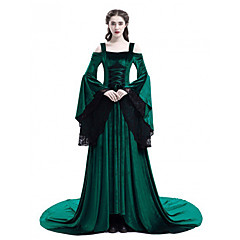 Princess Retro / Vintage Medieval Renaissance Princess Costume Women's Dress Black / Red / Green Vintage Cosplay Long Sleeve Flare Sleeve Sweep / Brush Train