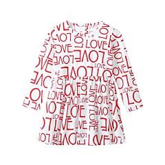 billige Pigekjoler-Børn / Baby Pige Aktiv / Basale Daglig / I-byen-tøj Bogstaver Trykt mønster Langærmet Knælang Bomuld Kjole Hvid