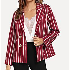 levne Novinky-Dámské Denní Základní Podzim Standardní Kabát, Proužky Košilový límec Dlouhý rukáv Polyester Rubínově červená M / L / XL