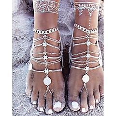 baratos Bijoux de Corps-Moeda tornozeleira - Simples, Básico Prata Para Presente Cerimônia Mulheres