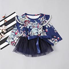 billige Babytøj-Baby Pige Basale / Gade Daglig / Ferie Blomstret Net / Kvast Langærmet Over knæet Bomuld / Spandex Kjole Blå