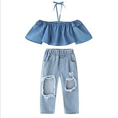 ieftine Haine de Fete-Copii Fete Activ / Șic Stradă Zilnic / Ieșire Mată Bufantă / ripped Manșon Lung Scurt Celofibră Set Îmbrăcăminte Albastru piscină