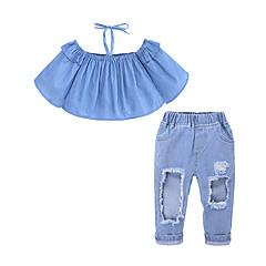 billige Tøjsæt til piger-Børn / Baby Pige Gade Daglig / I-byen-tøj Ensfarvet Ribbet Uden ærmer Bomuld / Polyester Tøjsæt Blå
