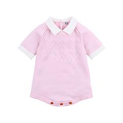 billige Babytøj-Baby Pige Aktiv Daglig Ensfarvet Eventyr Tema / Patchwork Halvlange ærmer Bomuld Bodysuit Lyserød