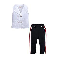 billige Tøjsæt til piger-Børn / Baby Pige Gade Daglig / I-byen-tøj Patchwork Uden ærmer Bomuld / Polyester Tøjsæt Hvid