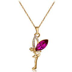 f9649fef6933 Mujer Rojo Cristal Cadena Figaro Collares con colgantes - Rosa Oro  Plateado