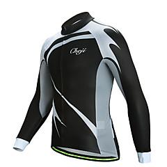 cheji® 남성용 긴 소매 싸이클 져지 - 블랙 자전거 져지 탑스 빠른 드라이 스포츠 라이크라 산악 자전거 로드 사이클링 의류 / 약간의 신축성 / YKK 지퍼