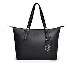 Women s Bags PU(Polyurethane) Tote Zipper Solid Color Black   Brown   Camel b860e21a3bdc9